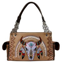 Tan Premium Western Skull Steer Head Handbag - G939208