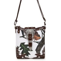 Brown Leaves N Trees Concealed Gun Messenger Bag - WML 4699