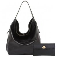 Black Solid Classic Hobo Single Handbag - Set - HNA 2331-663