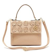 Brown Flower Deco Flip Top Zipper Fashion Handbag - HNA 69