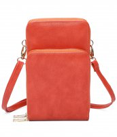 ORANGE DOUBLE ZIPPER MULTI POCKET CROSSBODY WALLET
