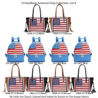 10 Handbags American Flag Collection - Lot A
