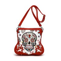 Red Western 'Calavera' Sugar Skull Messenger Bag - SKU4 200