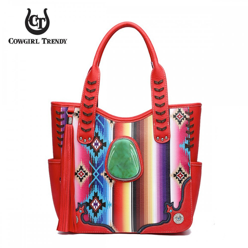 Red Western Multi Stripe Concealed Handbag - SER7 5376 - Click Image to Close