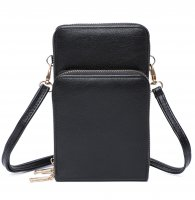 BLACK DOUBLE ZIPPER MULTI POCKET CROSSBODY WALLET