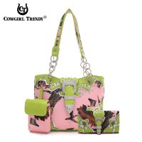 Lime Cowgirl Trendy Buckle Handbag Set - PML5 5166B-030WB