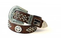 8-Pack Coffee Cross Rhinestone Studded Western Belt - PTG102 BOX