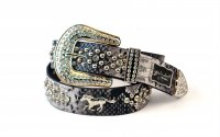8-Pack Gray Horse Rhinestone Studded Belt - PTG104 BOX