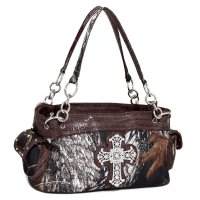 Coffee 'Mossy Pine' Large Handbag - MT1-52089 MO