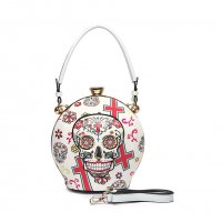White Sugar Skull Ball Handbag - SKU16 2929T