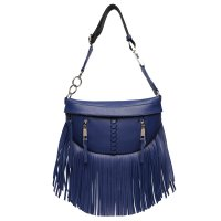 Blue Solid Fringe Front Zippered Fanny Pack - BH 567