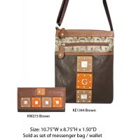 Brown G-Style Messenger Bag with Wallet - KE1344-KW215 Set