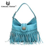 Aqua Western Fringed & Tassels Flap Over Hobo Bag - MCJ 5402