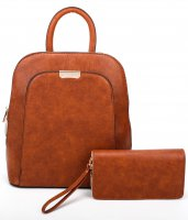 BROWN 2IN1 STYLISH MODERN BACKPACK WITH MATCHING WALLET