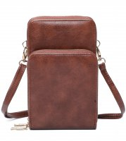 COFFEE DOUBLE ZIPPER MULTI POCKET CROSSBODY WALLET