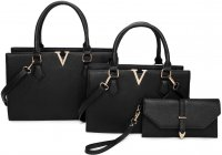 BLACK 3IN1 MODERN V ACCENTED DESIGN TOTE BAG WITH MATCHING BAG A