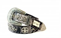 8-Pack Gray Flower Rhinestone Studded Belt - PTG104 BOX
