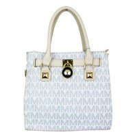 White Designer Signature Satchel Handbag - MM5711