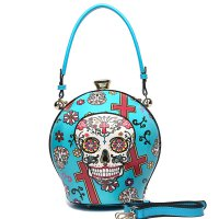 Teal Sugar Skull Ball Handbag - SKU16 2929T