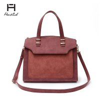 Red-Bean Two Tones Double Handles Tote Handbag - HNA 2040
