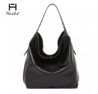 Black Solid Classic Hobo Single Handbag - HNA 2331