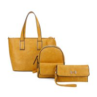 MUSTARD 3IN1 STYLISH FASHION SHOPPER BACKPACK AND CLUTCH SET