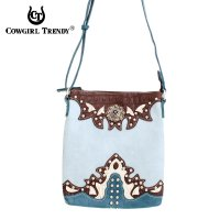 Blue Western Cowgirl Flame Embroider Messenger Bag - PWU 4699