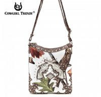 Brown Cowgirl Trendy Double gun Messenger Bag - WML3 4699