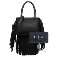 Black Solid All Over Fringe Satchel Handbag Set - MAW 5745-661