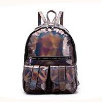 Pewter Holographic Dual Pocket Backpack - HAR2 5685