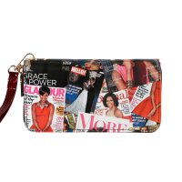 Red Magazine Cover Collage Zip Around Wallet - OB706