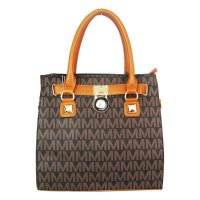 Brown Designer Signature Satchel Handbag - MM5711