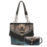 Black Western Buckle Fringe Handbag & Wallet - AUF 5394-300
