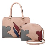 APRICOT 2IN1 ART PATCH WORK SATCHEL AND CROSSBODY SET
