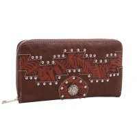 Brown Cowgirl Trendy Aztec Zip-Aroun Wallet - MJ7005N