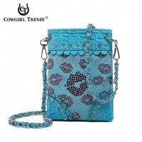Turquoise Western Stone Lips Hipster Messenger Bag - LPE 5397