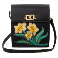 BLACK DESIGNER CUTE FLOWER EMBROIDERY CROSSBODY BAG