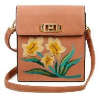 PINK DESIGNER CUTE FLOWER EMBROIDERY CROSSBODY BAG