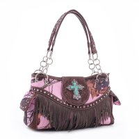 Brown 'Mossy Pine' Structured Fringe Handbag - MT1-MJ5302 MP
