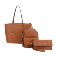 BROWN 3IN1 DESIGNER FASHION TOTE BACKPACK AND CLUTCH SET