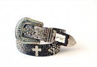 8-Pack Gray Cross Rhinestone Studded Belt - PTG104 BOX