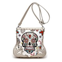 M.Gold Western 'Calavera' Sugar Skull Messenger Bag - SKU4 200