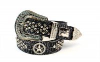 8-Pack Silver Star Rhinestone Studded Belt - PTG107 BOX