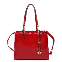 Red 'Hue & Ash' Glossy Satchel Handbag - HNA 222-2