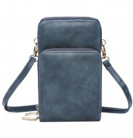 BLUE DOUBLE ZIPPER MULTI POCKET CROSSBODY WALLET