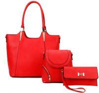 RED 3IN1 MODERN STYLISH SATCHEL BACKPACK AND CLUTCH SET