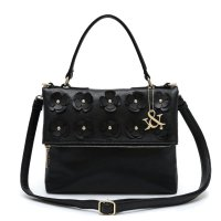 Black Flower Deco Flip Top Zipper Fashion Handbag - HNA 69