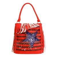 Red Fashion Fringe Tote Handbag - SS029