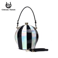 Black Round Top Handle Multi Striped Frame Handbag - BPL 292