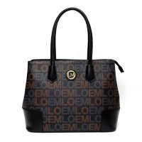 Black LOEM Signature Structured Top Handle Handbag - LT-667